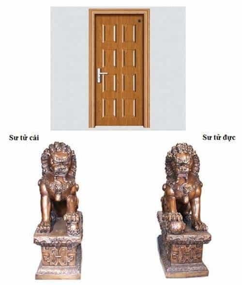 Vị trí đặt sư tử đúng nhìn từ ngoài cửa vào. (Ảnh: Internet)